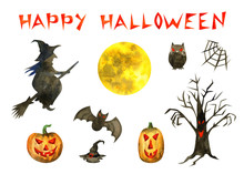 Happy Halloween Set On A White Background. Watercolor Illustration Hand Drawing.
