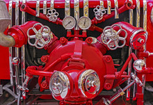 Fire Equipment On The Old Fire Truck. Vintage Fire Equipment.