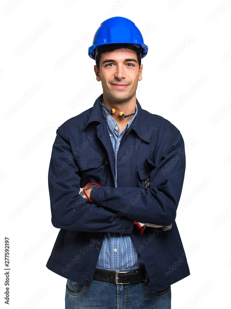 Fototapety, obrazy: Site manager portrait. Isolated on white