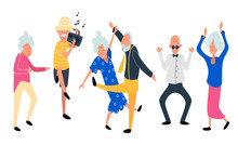 Dancing Old People. Happy Aged Women And Men On The Party. Laughing Grandfather With Recorder Player  And Music. Funky Flat Cartoon Style. Vector Illustration.