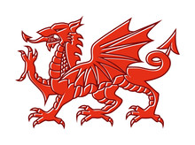Welsh Red Dragon On White Background, Vector Illustration Of Fantasy Monster Illustrated On National Flag On Wales.