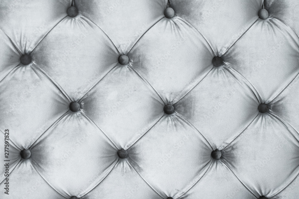 Fototapety, obrazy: Silver luxury velour quilted sofa upholstery with buttons, elegant home decor texture and background