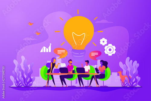 Canvas Prints Textures Sharing thoughts, ideas, teamwork in company. Colleagues working on project. Start up launching, business success, brainstorm meeting concept. Vector isolated concept creative illustration