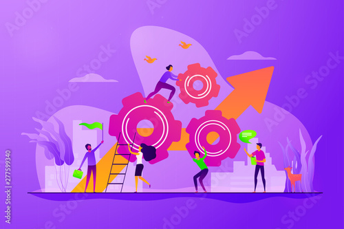 Aluminium Prints Wild West Startup work, success. Effective team-working, teamwork projects, teamwork skills, teamwork solutions, effective collaboration, Goal achievement concept. Vector isolated concept creative illustration
