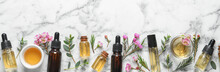 Flat Lay Composition With Bottles Of Natural Tea Tree Oil And Space For Text On White Marble Background