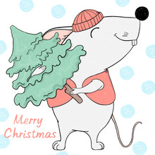 Mouse In A Hat And A Waistcoat Holds A Christmas Tree And Smiles. Greeting Christmas Card.