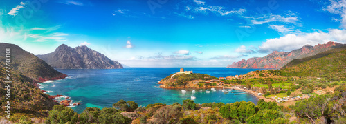 Spoed Foto op Canvas Blauw Girolata bay in natural reserve of Scandola
