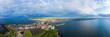 canvas print picture - aerial panoramic view sunset of Portrush habour,Northern Ireland