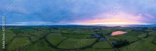 aerial panoramic view of summer countryside sunset,Northern Ireland Fototapet