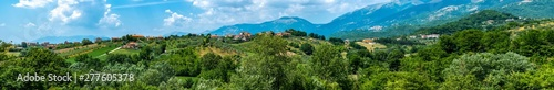 wide panorama of farm hills in the Italian apennines mountains of Lazio region Wallpaper Mural