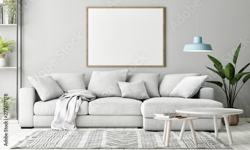 Pinturas sobre lienzo  Mock up poster in Living room, Scandinavian decoration, 3d render, 3d illustrati