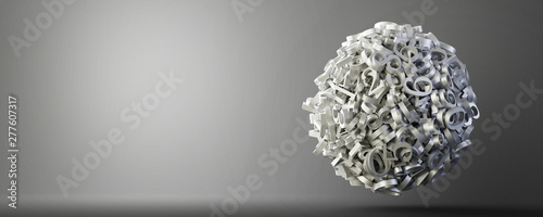 Fotomural  Abstract sphere made by numbers, original 3d rendering illustration, technology