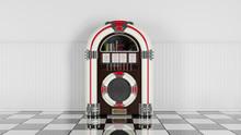 Retro Jukebox On White Wood Pl...