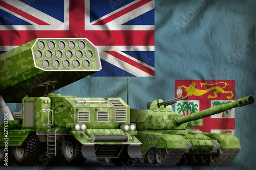Fiji heavy military armored vehicles concept on the national flag