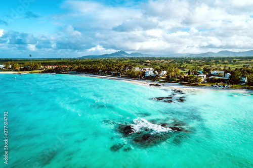 Wall Murals Green coral Aearial view of Belle Mare beaches, Mauritius.