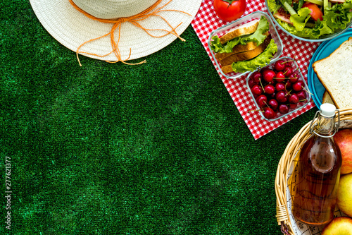 Wall Murals Picnic picnic in summer with products, fruits, drinks and hat on white background top view space for text