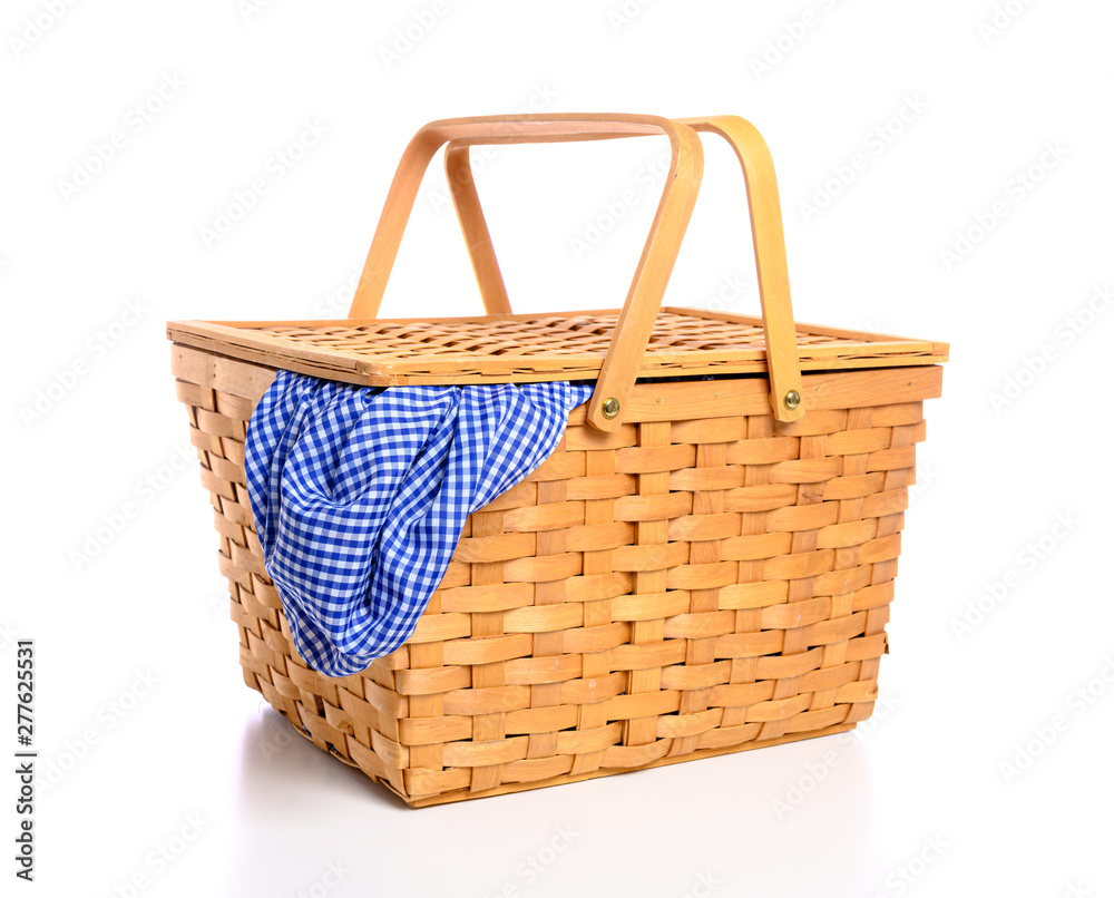 Fototapety, obrazy: A brown wicker picnic basket on a white background with gingham cloth