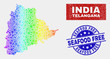 Factory Telangana State map and blue Seafood Free distress seal stamp. Rainbow colored gradient vector Telangana State map mosaic of tools items. Blue rounded Seafood Free seal.