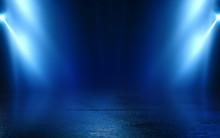 Empty Background Scene. Dark Street Reflection On Wet Asphalt. Rays Of Neon Light In The Dark, Neon Figures, Smoke. Background Of Empty Stage Show. Abstract Dark Background.