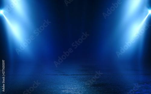 Obraz Empty background scene. Dark street reflection on wet asphalt. Rays of neon light in the dark, neon figures, smoke. Background of empty stage show. Abstract dark background. - fototapety do salonu