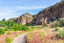 Main Loop Path Trail In Bandelier National Monument In New Mexico In Los Alamos With Canyon Cliffs