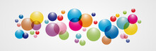 Flowing Multicolored Spheres. Vector Illustration. Abstract Background With 3d Geometric Shapes. Modern Cover Design. Ads Banner Or Brochure Template.