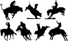 Seven Rodeo Silhouettes. Black...