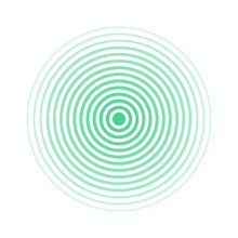 Green Rings Sound Wave And Line In A Circle. Sound Wave Wallpaper. Radio Station Signal. Circle Spin Vector Background.