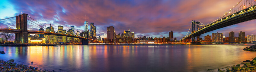 Brooklyn bridge and Manhattan bridge after sunset, New York City