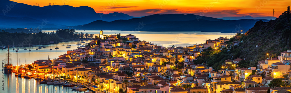 Fototapety, obrazy: Greek town Poros at night, Greece