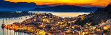 Greek Town Poros At Night, Gre...