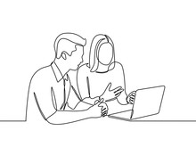 Continuous Line Drawing Of A Woman Is Explaining Material Inside A Laptop To A Man. Two Teen Browsing A Laptop Searching Information Online. Vector Illustration Isolated On White Background
