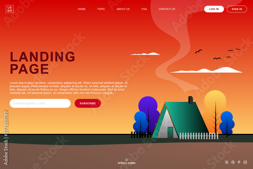 Landing page website template in countryside house in forest with sunset background