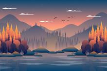 Autumn Forest Landscape With M...