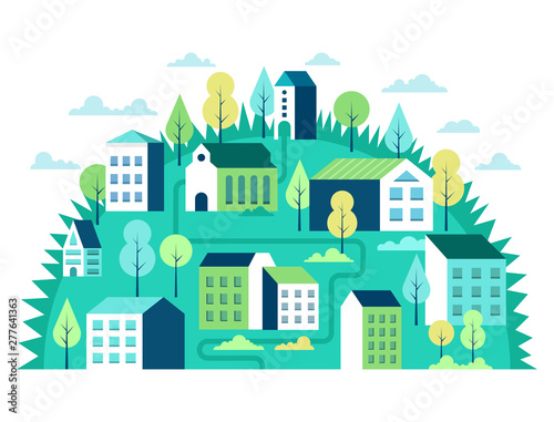 Poster Blanc City landscape concept. Geometric urban scene.Vector illustration.