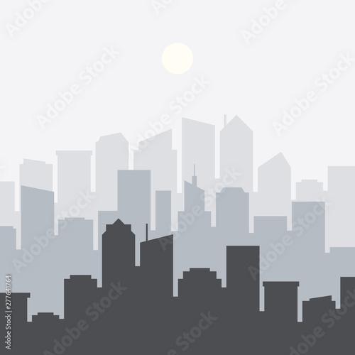 Foto op Plexiglas Grijs Set of cityscape background. Skyline silhouettes. Modern architecture. Horizontal banner with megapolis panorama. Flat vector illustration.
