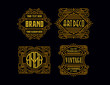 Leinwanddruck Bild - Vintage Badges Modern Minimalism Line Art Ornament Frame Decorative Old Fashioned Graphic Design Retro Element