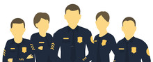 Police Team. A Group Of Policemen. Horizontal Head Banner. Women And Men In Uniform. Law And Order. Law Enforcement Officers. Flat Vector.