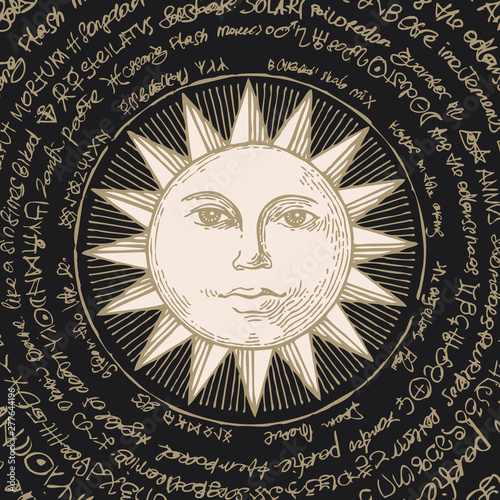 Fotografie, Obraz  Hand-drawn illustration of the Sun with magical inscriptions in retro style on black background