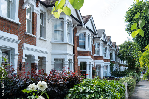 Row of typical British terraced houses Fototapete