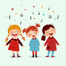 Three Little Girl Singing A So...