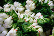 Bunches Of Green Bok Choi Cabbages At An Asian Market