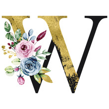 Floral Gold Alphabet, Letter W With Watercolor Flowers And Leaves. Monogram Initials Perfectly For Wedding Invitation, Birthday, Greeting Card And Other Design. Holiday Design Hand Painting.
