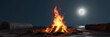 3d rendering of large bonfire with sparks and particles in front of full moon light at sand beach