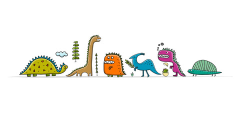 Funny dinosaurs, childish style for your design