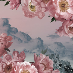 Fototapeta Vintage Vintage background. Garden flowers pink peonies on background of watercolor sky.
