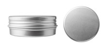 Metal Jar Container Isolated On White Background. Container For Tea, Spices, Cosmetic Or Food.
