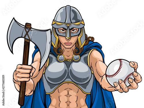 A female Viking, Trojan Spartan or Celtic warrior woman gladiator knight basebal Wallpaper Mural