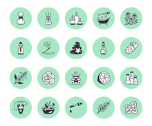 Essential Oils Aromatherapy Vector Flat Line Icons Set. Elements - Aroma Therapy Diffuser, Oil Burner, Candles, Incense Sticks. Linear Pictogram For Spa Salon