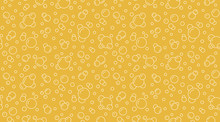 Bubbles Vector Seamless Pattern With Flat Line Icons. Yellow White Color Beer Texture. Fizzy Water Background, Abstract Soda Wallpaper